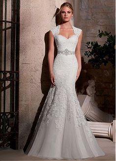 Elegant Organza Queen Anne Neckline Natural Waistline Mermaid Wedding Dress With Embroidery