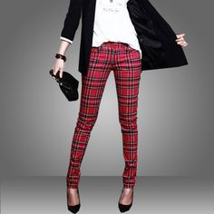 2013 England Style Classic Plaid  Slim Pencil Pants For Women-inPants & Capris from Apparel & Accessories