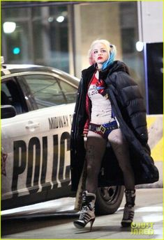 Margot robbie as Harley quinn on set of suicide squad.  Can't wait!
