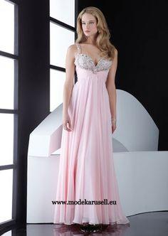 Bodenlanges Empire Abendkleid in Rosa