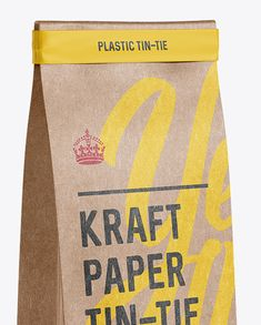 Kraft Paper Bag w/ a Plastic Tin-Tie Mockup - Halfside View (Close-Up)