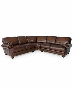 Brett Leather Sectional Sofa, 2 Piece (Right-Arm Facing Sofa & Left-Arm Facing Sofa) 110W x 110D x 32H - Sectional Sofas - furniture - Macy's