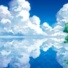 Water Paintings Clouds Landscapes Trees Mirror Fantasy Art Artwork Anime Manga Lakes Rivers Skyscape Wallpaper Anime