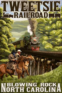 Reminds me of when the boys were little Train Posters, Railway Posters, North Carolina Mountains, North Carolina Homes, Tourism Poster, Blowing Rock, Diorama, Train Art, Vintage Travel Posters