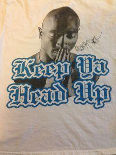 Tupac Shakur Keep Ya Head Up T Shirt Tee 2010 White Black Blue Large Gently Used #Tupac #GraphicTee #Rap #Hiphop