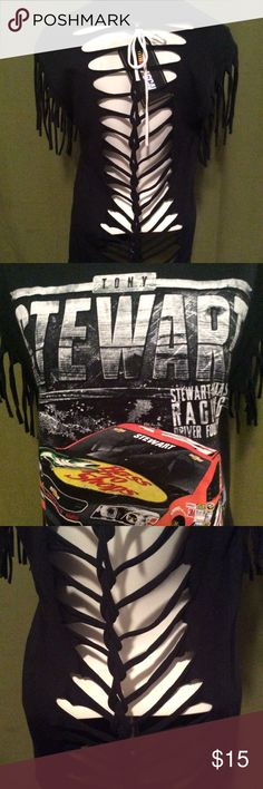 """Destroyed Nascar Tony Stewart Fringed Shirt Medium Measurements for this shirt: Front panel Boob Area:             18""""    Bottom Hem                              19""""     Neckline Hem                            25"""" Armhole Opening:                     12""""   Total Length                               25"""" This shirt started as a Medium. Each of these shirts are custom made.  No two shirts are alike and none with the same cuts. Nascar Tops Tees - Long Sleeve"""