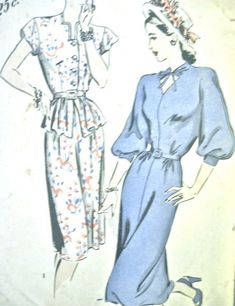 1940s Hollywood 1835 vintage sewing dress pattern Bust 32 inches. Modelli  Di Abito ... bf980d1c75d