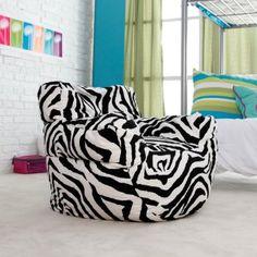 zebra bean bag arm chair for the kids!