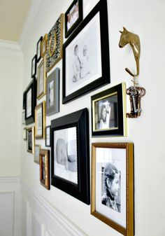 black, gold and silver frames gallery wall