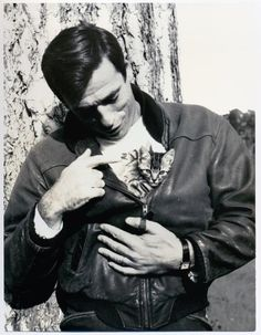 Yves Montand and his furry friend