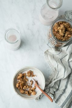 Clumpy Coconut Butter Granola + Strawberry-Vanilla Almond Milk (Vegan + Gluten-Free) by The Green Life