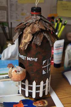 Coke Bottle Birdhouse Art Plastic, Recycle Plastic Bottles, School Craft, Birdhouse, Coke, Tuesday, Christmas Bulbs, Recycling, Sweet Home
