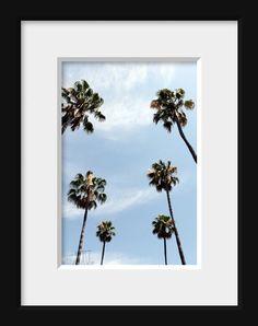 Palm tree art, California wall art, home decor, Los Angeles art, summertime, sky blue, fine art photography 5x7 (13x18) F R E E  SHIPPING