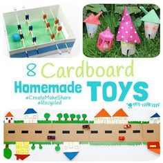 Awesome cardboard homemade toys to inspire creativity & imaginative play. Kids love to play with toys they've made and it teaches them about recycling too.
