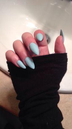 matte blue almond acrylic nails