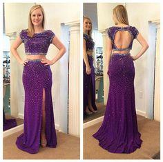 Two Pieces Prom Dress,O-Neck Prom Dress, Beading Prom dress,Evening Dress