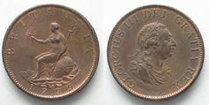 1799 England GREAT BRITAIN Half Penny 1799 GEORGE III BRITANNIA copper UNC!!! # 95212 UNC