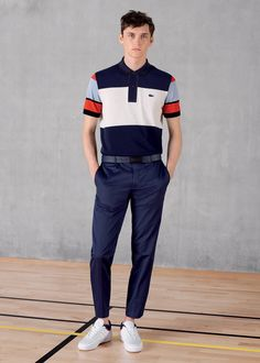 "Discover for him our Men's ""Made in France"" short sleeve bar stripe colorblock Polo."