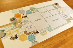 Double Page Layout 6 Photos Hexagons