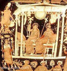 Hades & Persephone enthroned in the underworld | Greek vase, Apulian red figure volute krater