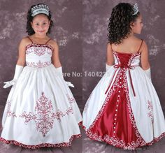 Cheap Ball Gown Flower Girls Dresses Spaghetti Strap Pattern Floor Length Lace Up Back Taffeta Vintage Girls Dresses