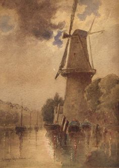 GEORGE HOLSTON (1833 - 1923) English Fine Art Watercolor Painting England Artist 1866 or Before European Holland Windmill Landscape Signed