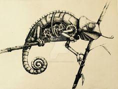 Robot chameleon by Takacs-Viktoria.deviantart.com on @DeviantArt
