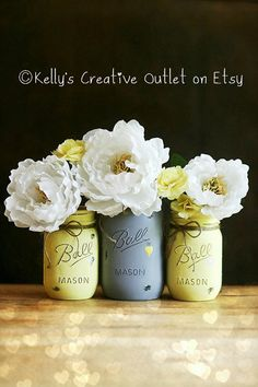 Cottage Decor-Butter Yellow and Grey - Shabby by KellysCreativeOutlet - Perfect for her! Beautiful as an arrangement displayed most anywhere including your work space! They are perfect for wedding centerpieces. They are also great for baby showers and wedding showers and your home!