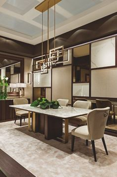 "The ""Symphony in Beige"" dining room by Oasis features a big table, Saint-Germain. Marble Top Dining Table, Dining Table Design, Modern Dining Table, Luxury Dining Tables, Luxury Dining Room, Dining Room Furniture, Dining Room Table, Bathroom Furniture, Dining Rooms"