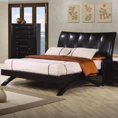 Phoenix Contemporary Faux Leather Queen Platform Upholstered Arc Bed