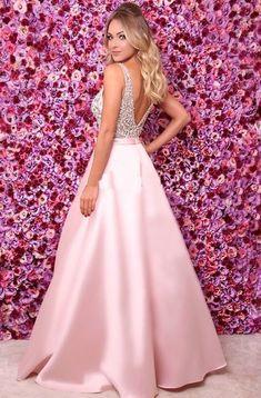 A-Line/Princess Satin Beading Spaghetti Straps Sleeveless Floor-Length Dresses - Prom Dresses - Hebeos V Neck Prom Dresses, 15 Dresses, Satin Dresses, Elegant Dresses, Pretty Dresses, Fashion Dresses, Gowns, Formal Dresses, Wedding Dresses