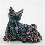 Jon Andersons Fimo Creations Reclining Cat - Mama  Approximately 3-1/2 inches long x 3 inches high.