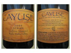2009 Cayuse Syrah Cailloux Vineyard, USA, Washington, Columbia Valley, Walla Walla Valley - CellarTracker!