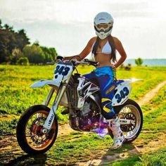 See The Result Of The Combination Bike + Sexy Girls . Motorcross Bike, Motorbike Girl, Scooter Motorcycle, Lady Biker, Biker Girl, Motard Sexy, Motocross Girls, Moto Cross, Dirt Bike Girl