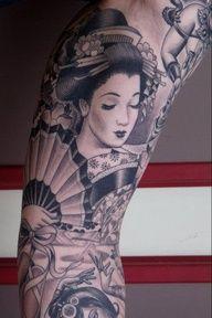 geisha beautiful geish black ink tattoo
