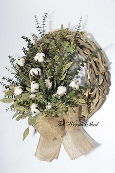 Eucalyptus Cotton Wreath, Cotton Boll Wreath, Driftwood Wreath, Wreath for Door, Natural Preserved Wreath, Green Eucalyptus, Natural Burlap