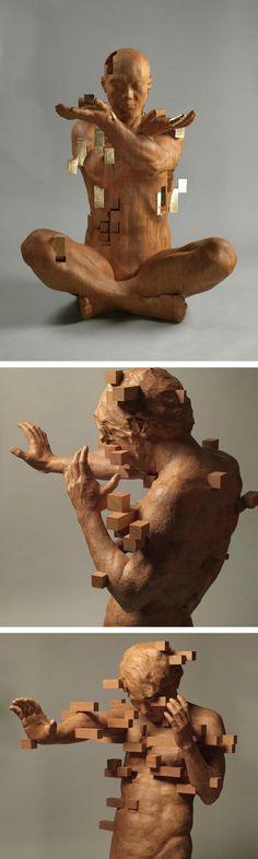 Hsu Tung Han // wood sculpture // pixel art