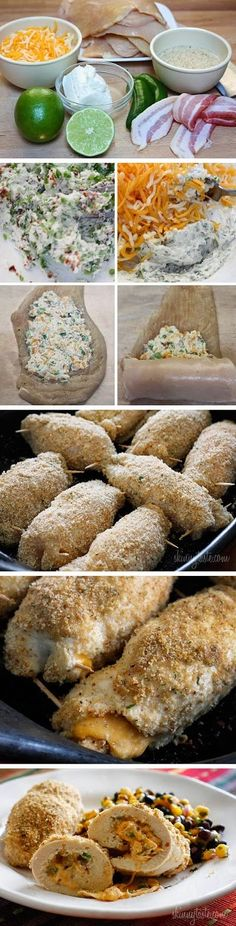 Cheesy Jalapeño Popper Baked Stuffed Chicken ~ Don't Eat Them All