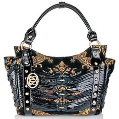 Sharif Persian Tapestry Knotted Patent Leather Tote at HSN.com.