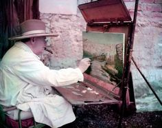 <b>Caption from LIFE.</b> The painting shapes up rapidly as Mr. Churchill obeys his own injunction to amateur painters: 'Audacity is the only ticket.' His painting costume includes a smock to protect his clothes and a 10 gallon Stetson, which he got years ago in California, to shield his head from the sun.