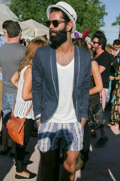 Men's festival fashion at Coachella 2012. Love the hat and round framed sunglasses