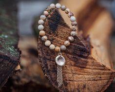 Gold Beaded Bracelet, Beaded Stone Bracelet, Turquoise Beaded Bracelet, Gold Pendant Beaded Bracelet, Gold Tassel Beaded Bracelet