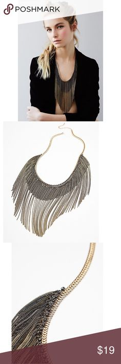 """FREE PEOPLE CHAIN WAVES NECKLACE Free People Chain Waves Bronze Layered Necklace $38 retail brand new without the tag details Make a statement with this metal fringe necklace accented with sparkly stones. Gold toned snake chain with an adjustable lobster clasp closure.  Metal Import Length: 29.0"""" = 73.66 cm Free People Jewelry Necklaces"""