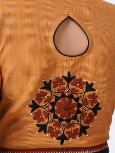 Orange-Brown Embroidered Cotton Blouse