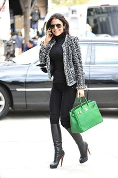 Black look + chanel jacket + color purse