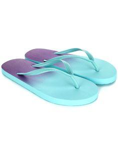 Blue and purple dip dye ombre flip flops BY us.accessorize.com