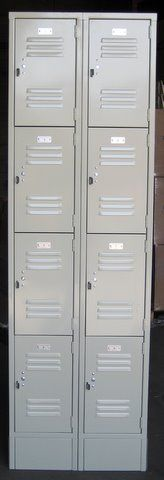 """Small 4-Tier Box Lockers for sale! Several sizes and colors to choose from; can be ordered with or without 6"""" legs. Ideal for employee break rooms, gyms, schools and warehouses for storing purses, wallets, keys and more. #lockers #boxlockers #cellphonelockers #smalllockers"""