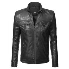MBJ Mens Faux Leather Biker Jacket ($30) ❤ liked on Polyvore featuring men's fashion, men's clothing, men's outerwear and men's jackets