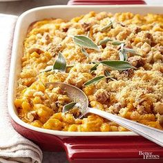 Pumpkin Mac and Cheese: Here's a mac and cheese that veers off the beaten path! The pumpkin adds moisture and an irresistibly earthy flavor to the easy casserole recipe.
