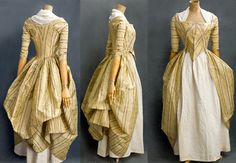 """French brocaded silk taffeta open robe, 1780s, France, """"The gown is fashioned from glowing silk taffeta with purple rib weave stripes and small ivory brocaded flowers. The neckline, front, and sleeves are edged with pleated ivory ribbon. The charming compères are decorated with appliqués of cut-out stripes and pleated ribbon."""" May have had a matching silk petticoat (missing). Vintage Textile. http://vintagetextile.com/new_page_431.htm"""